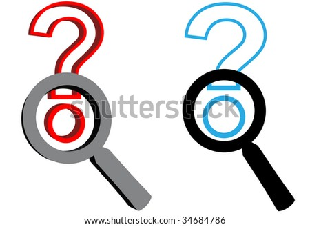Two magnifying glasses - 1 flat 1 3D - focus on search to find answers to question marks, as SEO or search engine icons.