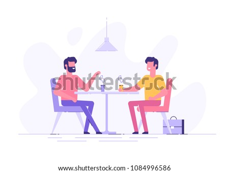 Two male colleagues chatting during coffee breaks at a table in a cafe. Modern flat vector illustration.