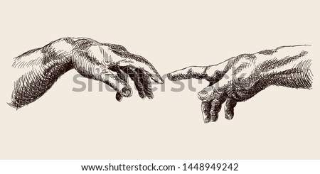 Two male hands are drawn to each other. Sketch of an element of the painting by Michelangelo. The birth of Adam.
