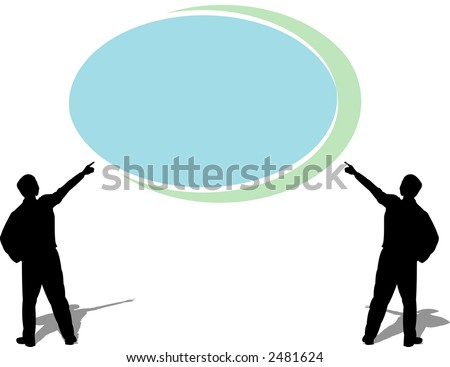 Two man pointing at an empty logo for your text - editable colors,scalable vector - illustration