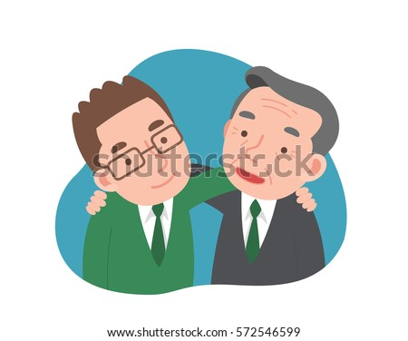 two man put arms around each other's shoulders Stock photo ©