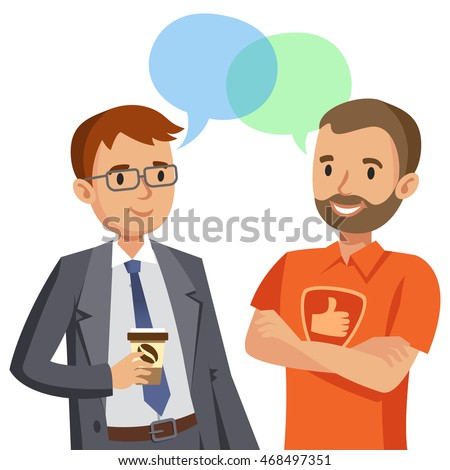 Two man talking. Meeting of friends or colleagues. Vector illustration