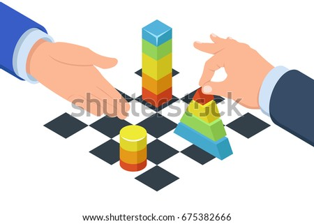 Two mans play in chess with graphics, concept smart business strategy and analytics, isometric flat vector illustration isolated on white background