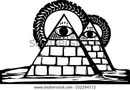 Two Masonic Pyramids in the desert with staring eyes.
