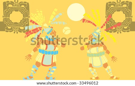 Two Mayan Ballplayers in ball court designed after Mesoamerican Pottery and Temple Images.