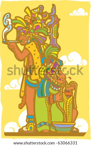 Two mayan priest in blood sacrifice and smoking poses derived from mayan temple imagery.