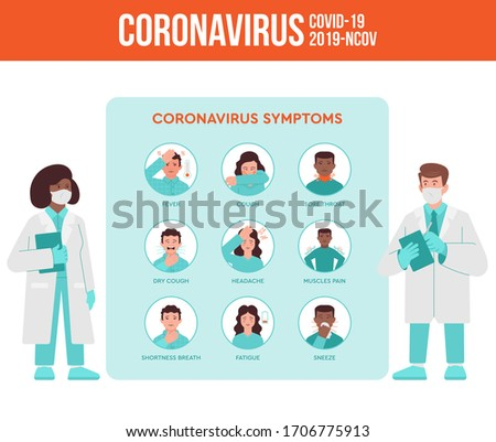 Two medics, doctor and nurse tell about coronavirus symptoms, quarantine pandemic situation for the people. Covid-19, 2019-nCoV virus set infographic instruction. Flat design modern illustration