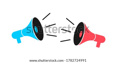 Two megaphones, speakers, loud speakers and loudspeaker are competing against each other - clash, conflict, battle, fight and duel. Vector illustration isolated on white. Сток-фото ©