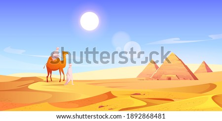 Two men and camel in Egyptian desert with pyramids. Vector cartoon illustration of landscape with arabic bedouins, yellow sand dunes, ancient pharaoh tombs and hot sun in sky