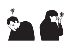 Two men and women who look depressed and serious. People under stress. Mental health concept illustrations.
