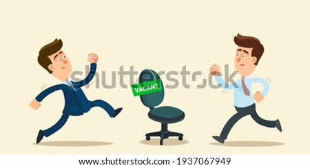 Two men are competing for a vacancy in the company. Competition for a new job. Hiring agency, human resources. Vector illustration, flat design, cartoon style, isolated background. Foto stock ©