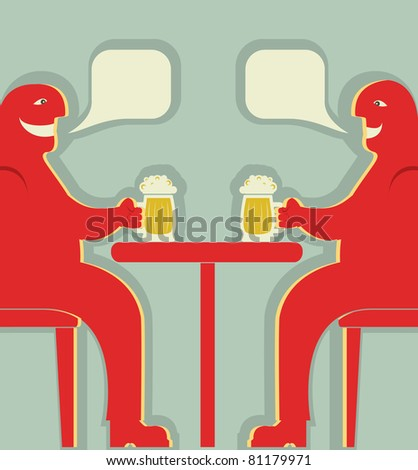 Two men are sitting with glasses of beer who toast.Vector poster