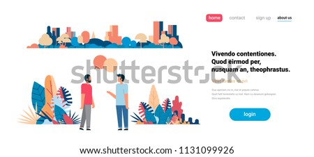 two men chat bubbles communicating over city skyscraper view cityscape background skyline flat horizontal copy space vector illustration