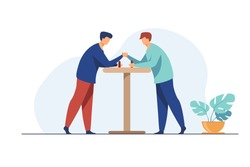 Two men competing in arm wrestling. Fighters trying strength against each other flat vector illustration. Wrestler club, rivalry, contest concept for banner, website design or landing web page