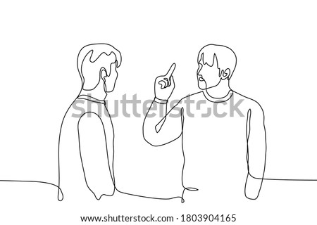 two men face each other, one of whom gestures with his right hand with his forefinger out. One continuous line drawing concept of boss and subordinate, father and son, teacher and student, order Foto d'archivio ©