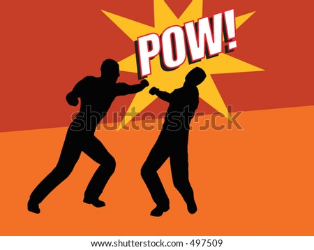Two men fighting. One punching the other - vector format