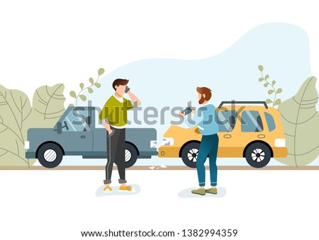 Two men had a car accident. Motor Insurance. Guy calling by cell phone. Another guy taking picture on his mobile phone. Flat vector illustration.