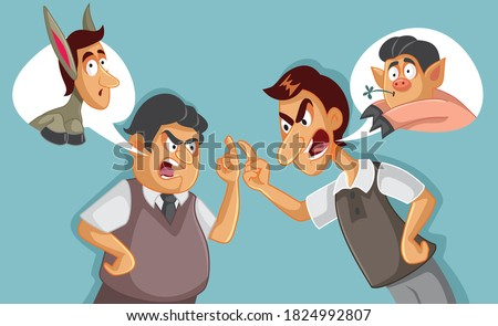 Two Men in an Argument Insulting Each Other. Enemies arguing and name calling each other in offensive talk  Foto stock ©