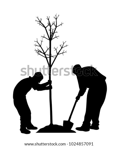two men planting a tree in eps
