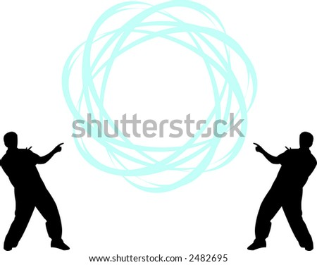 Two men pointing to sphere with your text - scalable, editable colors vector illustration