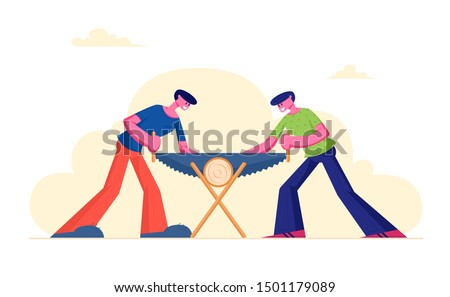 Two Men Sawing Wood Log. Carpenters with Saw in Hands Doing Carpentry Work Cooperation, Cross Section of Tree. Lumberjacks Cut Timberwood, Woodcutter Occupation. Cartoon Flat Vector Illustration