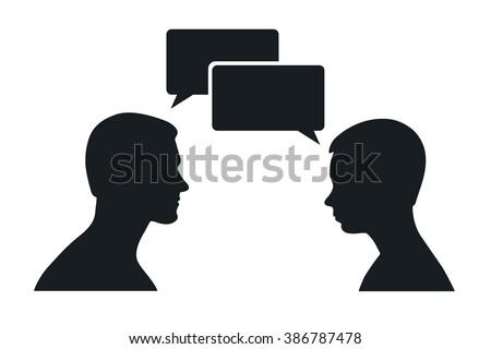 two men silhouette talking