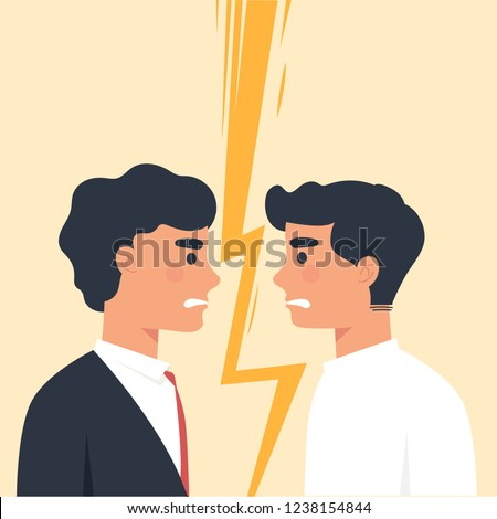 two men staring each other as a enemies, conflict between two worker, man versus man Stock photo ©