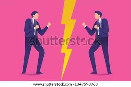 two men staring each other as a enemies, conflict between two worker, man versus man ready to fight each other, enemy concept media Stock photo ©