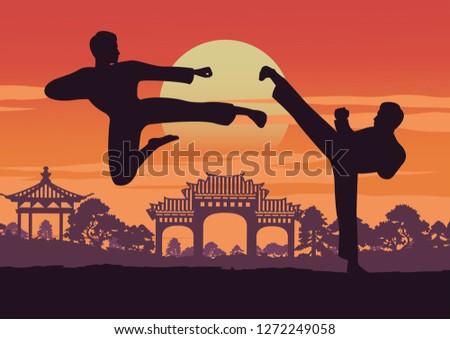 two men train Taekwondo near landmark of Korea,famous martial arts of the world,vector illustration