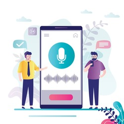 Two men using a smart voice assistant. Male character records voice messages via smartphone. Phone screen with large microphone and sound waves. Ai technology concept. Trendy flat vector illustration