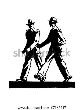two men walking   retro clip art