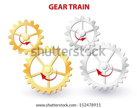 Two meshing gears transmitting rotational motion. Vector diagram