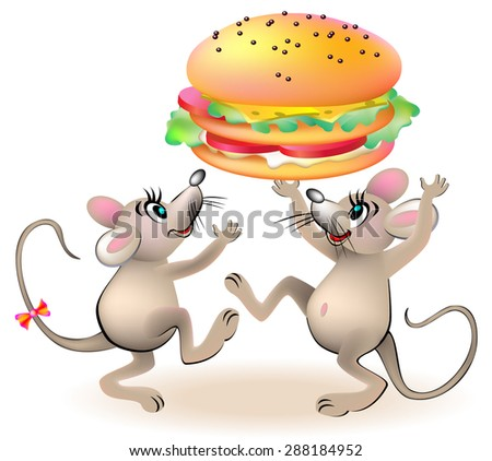 Two mice are dancing around the hamburger, vector cartoon image