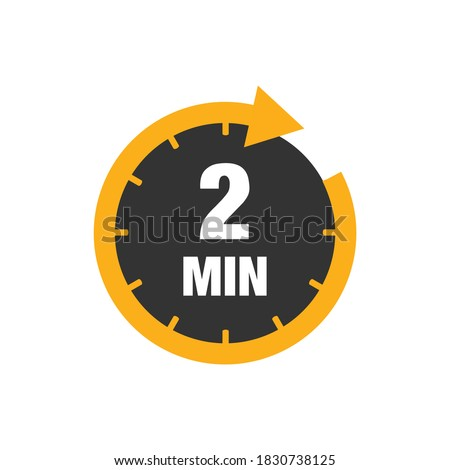 Two minutes icon isolated on white background. Cooking time concept. 2 minutes waiting time icon. Vector stock Stockfoto ©