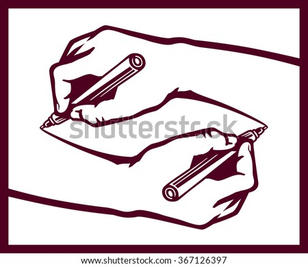 two mirrored hands drawing each