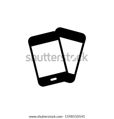 Two mobile phones icon in black flat design on white background, Smartphone, cell phone, telephone vector icon, Symbol, logo illustration, Vector graphics