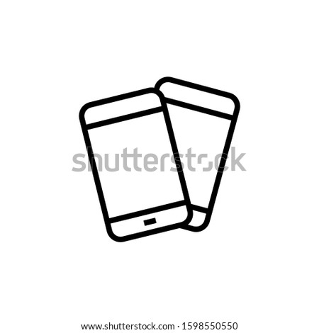 Two mobile phones icon in outline style on white background, linear style sign for mobile concept and web design, Smartphone, cell phone, telephone outline vector icon, Symbol, logo illustration, Vect