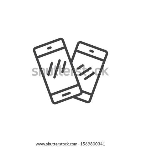 Two mobile phones line icon. linear style sign for mobile concept and web design. Smartphone, cell phone, telephone outline vector icon. Symbol, logo illustration. Vector graphics