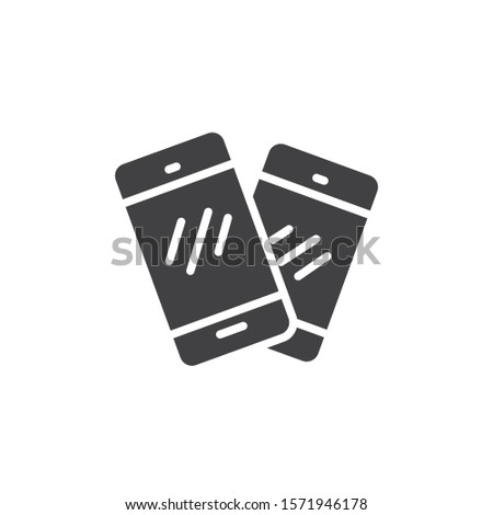 Two mobile phones vector icon. filled flat sign for mobile concept and web design. Smartphone, cell phone, telephone glyph icon. Symbol, logo illustration. Vector graphics
