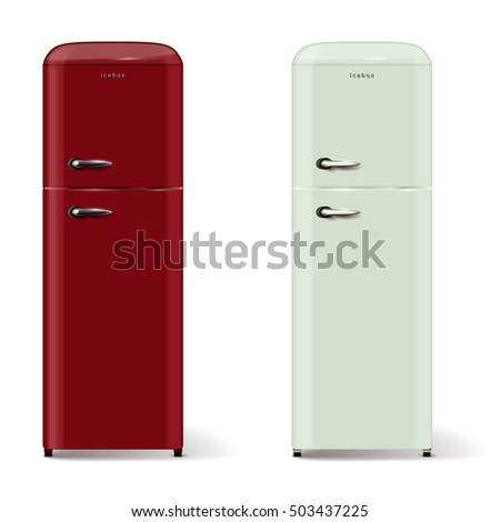 Two modern refrigerators in retro style - isolated on white background. Vector illustration.