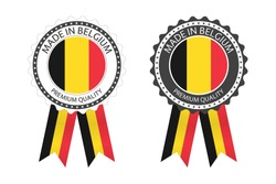 Two modern vector Made in Belgium labels isolated on white background, simple stickers in Belgian colors, premium quality stamp design, flag of Belgium