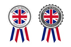 Two modern vector Made in Britain labels isolated on white background, simple stickers in British colors, premium quality stamp design, flag of Britain