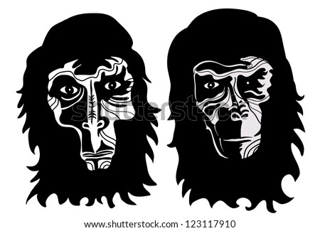 two monkey heads