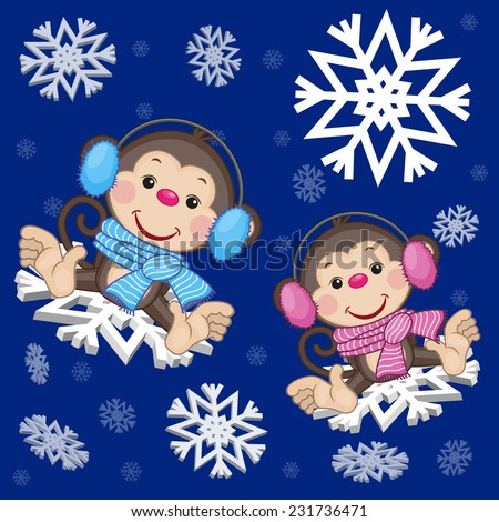 two monkeys at the snowflakes