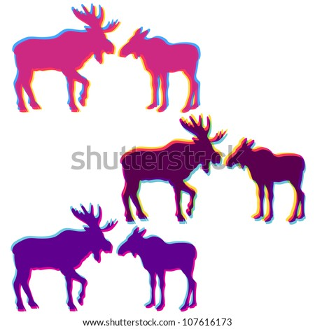Two moose love silhouettes set, with multicolor stereo effect