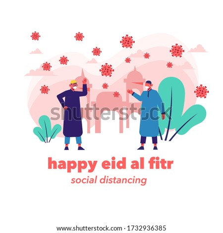 Two Moslem People Standing In Front Of Mosque Celebrating Eid Al Fitr and social distancing fight covid 19, Moslem Male Wearing Moslemwear Havingight covid Joyful Eid Mubarak