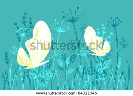 two moths in a wild grass a