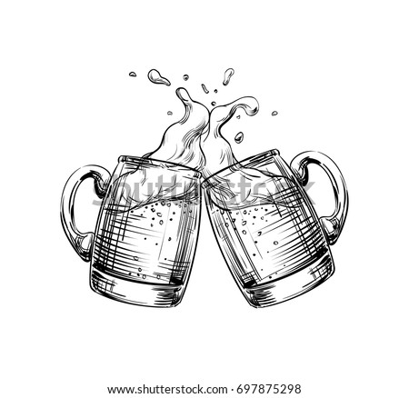 two mugs of beer clink at a