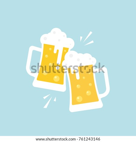 Two mugs of beer. Vector, illustration, flat