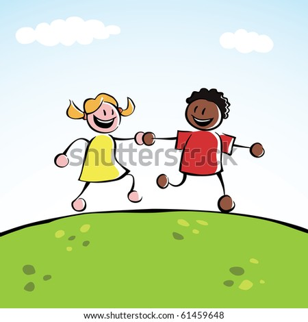 Two multi-ethnic kids holding hands